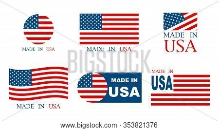 Made In The Usa Set Of Banner On A White Background. Vector