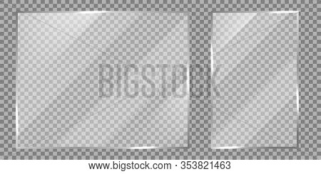 Glass On Transparent Background. Realistic Transparent Glass Window. Frame Transparent Set. Vector