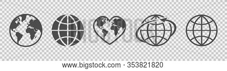 Globe Set. Earth Linear Icons. Flat Style. Vector