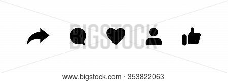 Social Media Icons Thumb Up And Heart Icon With Repost And Comment. Flat Signs Icons On White Backgr