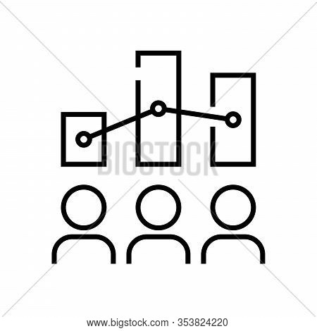 Shareholders Charts Line Icon, Concept Sign, Outline Vector Illustration, Linear Symbol.