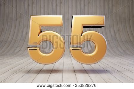Golden Number 55 On Wooden Floor. 3d Rendered Glossy Gold Alphabet Character.