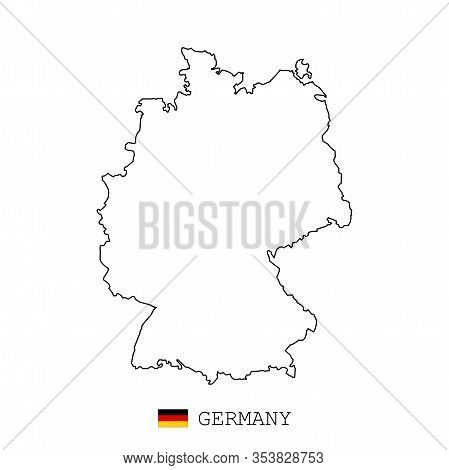 Germany Map Line, Linear Thin Vector. Germany Simple Map And Flag.