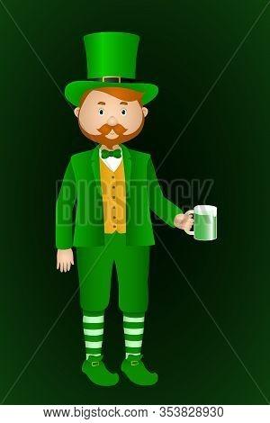 Man In Leprechaun Suit Drink Green Beer. Vector Illustration.