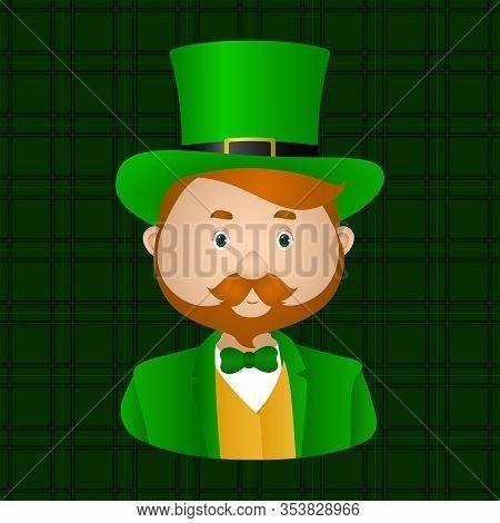 Red-haired Irishman In Green Leprechaun Top Hat. Vector Illustration.