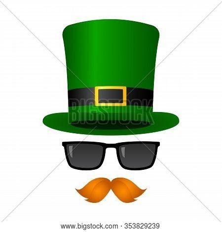 Leprechaun Mask. Green Top Hat, Sunglasses And Mustache. Vector Illustration.