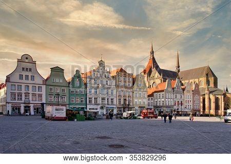 Rostock, Germany - January 15, 2020: New Market Of Rostock, Germany