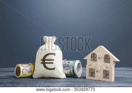 Euro Money Bag And Puzzle House. Housing Cooperative Membership. State Social Programs. Mortgage Loa