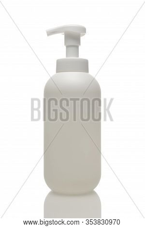 Liquid Soap With Dispenser Isolated On A White Background. Cosmetic Product Bottle.