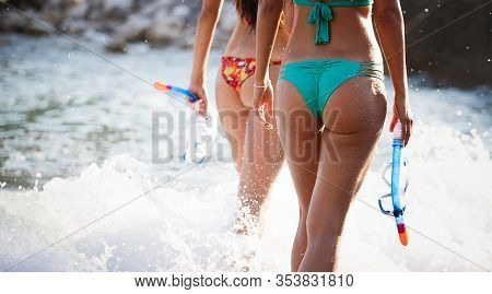 Happy Beach Vacation Snorkeling Girl Having Fun Doing Snorkel Watersport