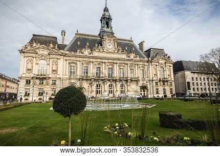 Architectural Detail And Street Atmosphere In Front Of The Town Hall Of Tours, France