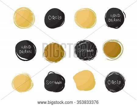 Set Of Black And Gold Round Stains Isolated On White Background. Hand Drawn Scribble Circles. Spot B
