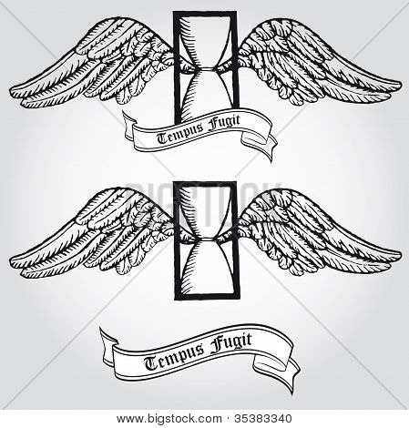 Tempus fugit. Passing time. Tattoo. Symbol. Hourglass