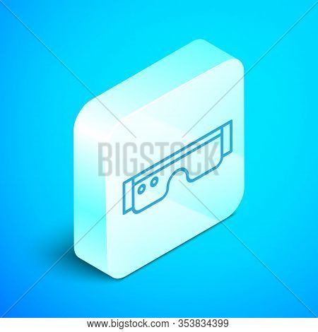 Isometric Line Smart Glasses Mounted On Spectacles Icon Isolated On Blue Background. Wearable Electr