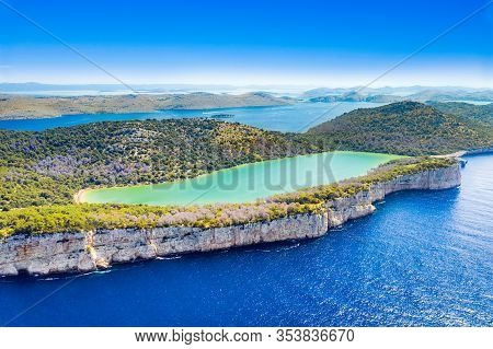 Croatia, Dugi Otok Island, Aerial View Of The Salty Lake In Nature Park Telascica, Spectacular Cliff