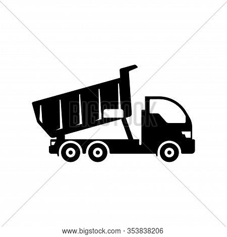 Tipper Truck Isolated On White Background. Vector Dump Truck Icon Symbol Sign Design