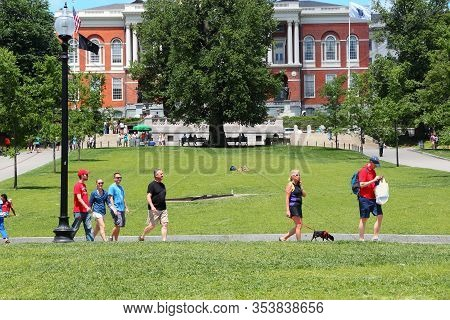 Boston, Usa - June 9, 2013: People Visit The State House In Boston. Boston Is The Largest City In Ma