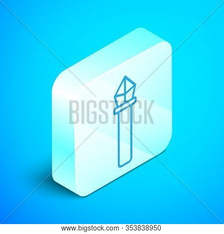 Isometric Line Magic Staff Icon Isolated On Blue Background. Magic Wand, Scepter, Stick, Rod. Silver