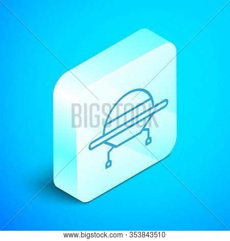 Isometric Line Ufo Flying Spaceship Icon Isolated On Blue Background. Flying Saucer. Alien Space Shi