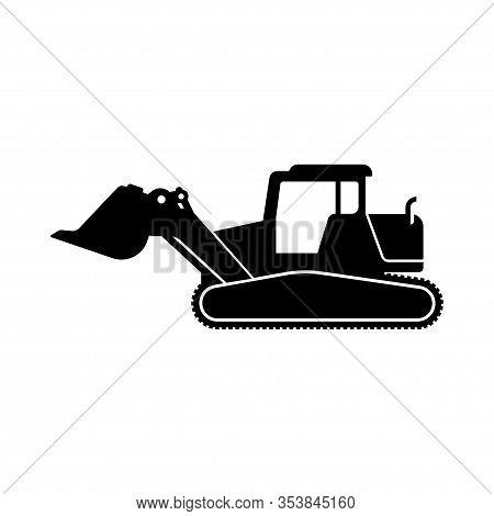 Bulldozer Vector Icon Illustration. Silhouette Of Bulldozer In Flat Design