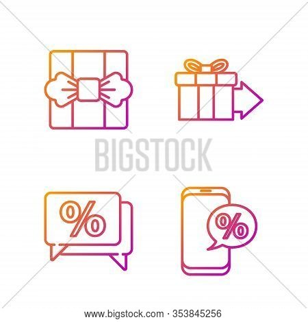 Set Line Percent Discount And Phone, Discount Percent Tag, Gift Box And Gift Box. Gradient Color Ico
