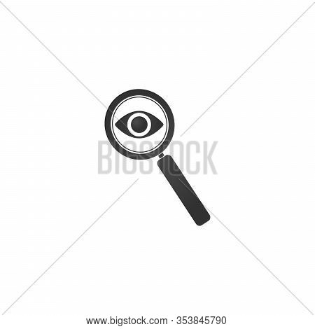 Magnifying Glass With Eye Icon. Lupe Optical Instrument. Zoom Button. Search Concept. Stock Vector I