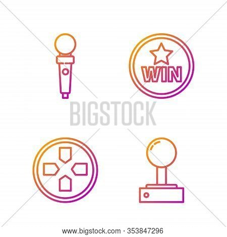 Set Line Joystick For Arcade Machine, Gamepad, Joystick For Arcade Machine And Medal. Gradient Color