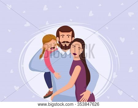 Mothers Day lovely family poster together. Happy Mothers Day. Vector Mothers Day illustration of a flat design. Mothers Day background