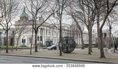 Dublin, Ireland - February 12, 2019: Architectural Detail Of The Custom House Which Houses The Depar
