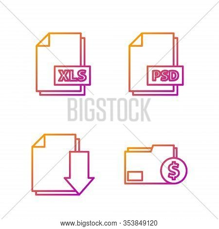 Set Line Finance Document Folder, Document With Download, Xls File Document And Psd File Document. G