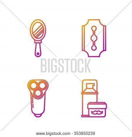 Set Line Shaving Gel Foam, Electric Razor Blade For Men, Hand Mirror And Blade Razor. Gradient Color