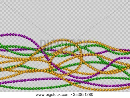 Vector Realistic Isolated Greeting Card Template With Beads For Mardi Gras. Decorative Glossy Realis