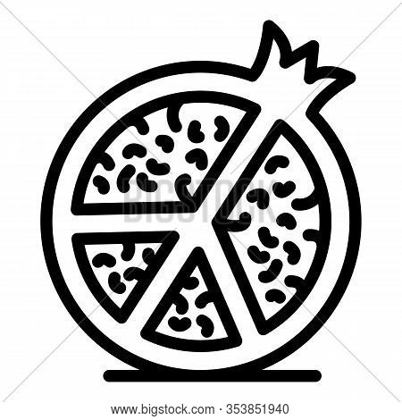 Half Pomegranate Icon. Outline Half Pomegranate Vector Icon For Web Design Isolated On White Backgro
