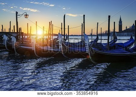 View Of Gondola In Venice At Sunrise, Italy