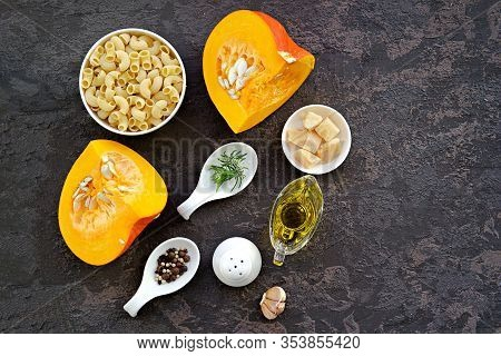 Ingredients For Cooking Pasta With Pumpkin And Parmesan: Dry Pasta, Pumpkin, Rosemary, Parmesan, Sal