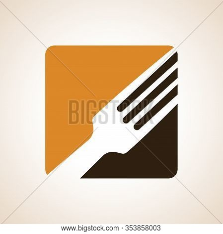 Logo Or Logo For A Restaurant, Cafe Or Diner. Parts Of The Fork And A Spoon In The Icon. A Simple An