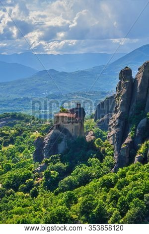 Monastery of St. Nicholas Anapavsa Anapausas in famous greek tourist destination Meteora in Greece in the morning