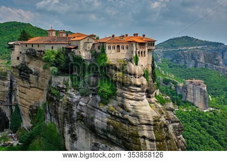 Monastery of Varlaam monastery and Monastery of Rousanou in famous greek tourist destination Meteora in Greece with scenic scenery landscape