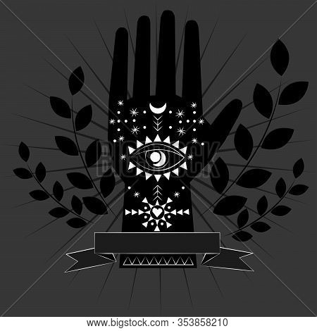 Chiromancy And Good Luck Charms. Palmistry Graphic Design, Evil Eye, All Seeing Eye, Third Eye, Good