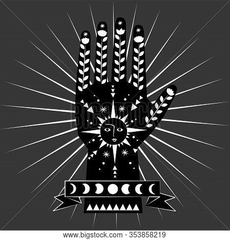 Chiromancy And Good Luck Charms. Palmistry Graphic Design, Sun And Moon, Moon Phases, Good Luck Post