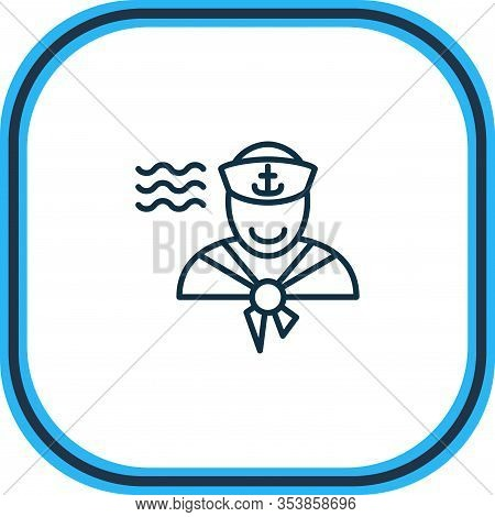 Vector Illustration Of Sailor Man Icon Line. Beautiful Marine Element Also Can Be Used As Seaman Ico