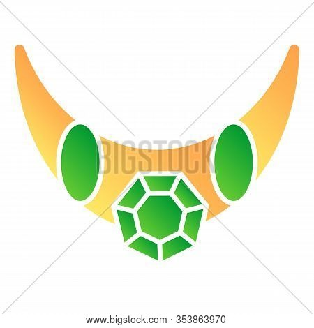 Emerald Necklace Flat Icon. Necklace With Big Gemstone Vector Illustration Isolated On White. Jewelr