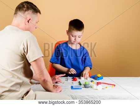 Hospital Worker. Medical Service. Analysis Laboratory. Kid Little Doctor Sit Table Medical Tools. He