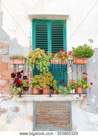 Balcony With Flowers On Rustic Wall Of House.
