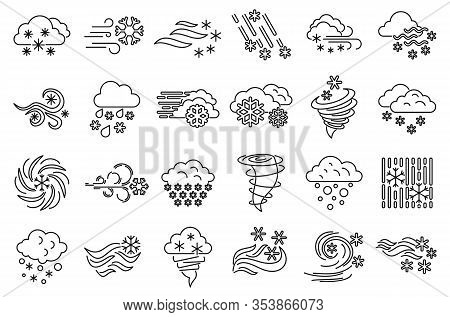 Blizzard Climate Icons Set. Outline Set Of Blizzard Climate Vector Icons For Web Design Isolated On