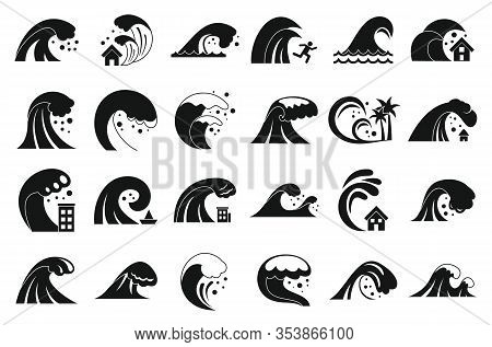 Tsunami Icons Set. Simple Set Of Tsunami Vector Icons For Web Design On White Background