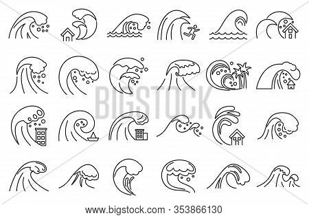 Tsunami Disaster Icons Set. Outline Set Of Tsunami Disaster Vector Icons For Web Design Isolated On