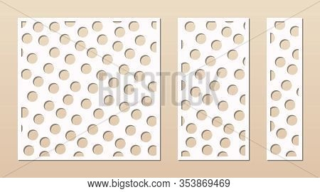 Decorative Panel For Laser Cutting. Cutout Silhouette With Abstract Geometric Pattern, Dots, Circles