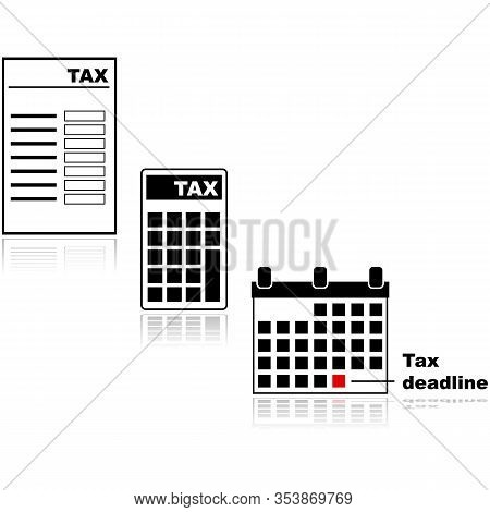 Icon Set Showing Different Tax Related Items, Such As A Tax Form, A Calculator With Tax On Its Displ