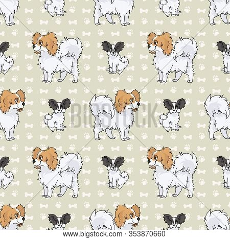 Hand Drawn Cute Papillon Breed Dog And Puppy Seamless Vector Pattern. Purebred Pedigree Puppy Domest